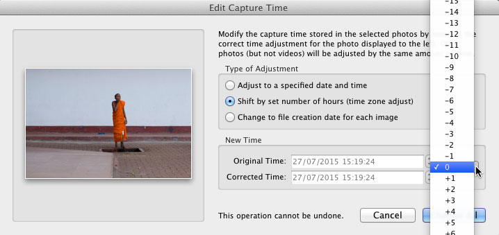 "The Lightroom ""Edit Capture Time"" dialog, showing the whole hour increments for adjusting time zones."