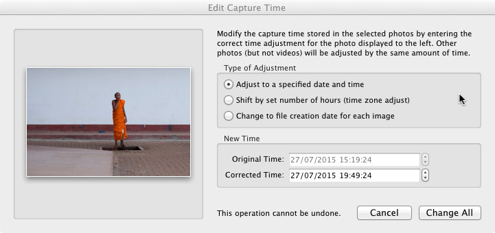 "Using the Lightroom ""Edit Capture Time"" dialog to adjust a selection of images by a set amount of time (+4 1/2 hours in this case)."