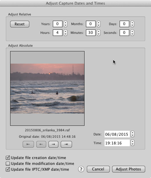 "The Photo Mechanic ""Adjust Capture Dates and Times"" dialog, showing how one can easily adjust the capture time for a series of images by four and a half hours."